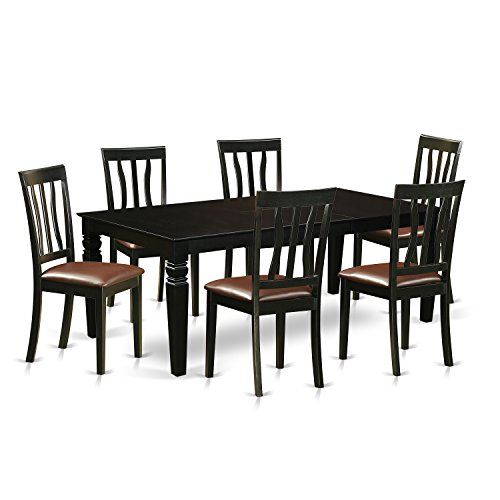East West Furniture LGAN7-BLK-LC 7 Piece Dining Table and 6 Leather Chairs, Black