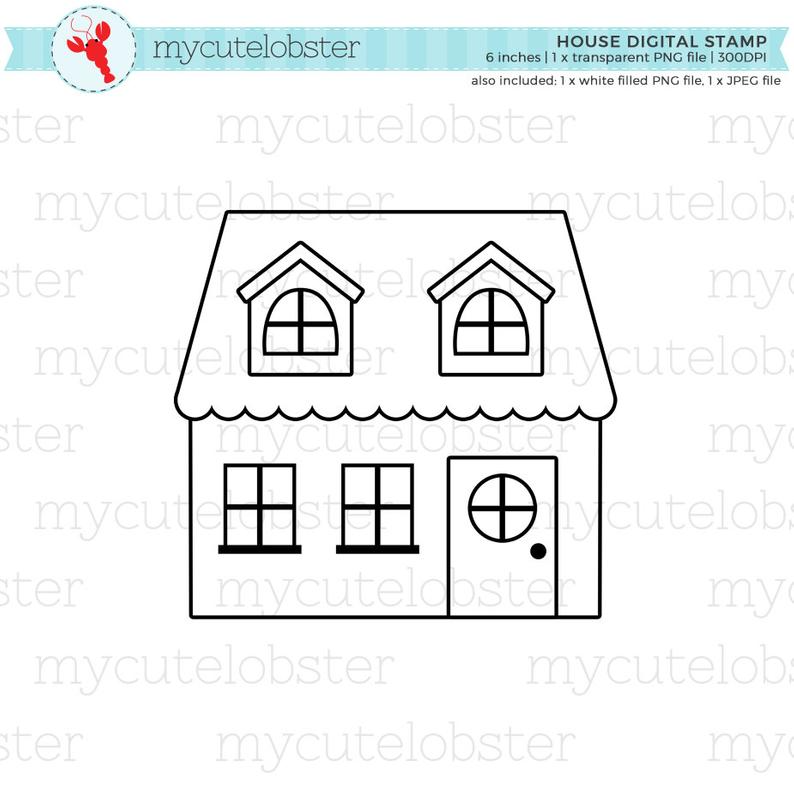 House Digital Stamp Clipart Little House Clipart Outline Etsy Digital Stamps Clip Art Digital Scrapbooking Kits