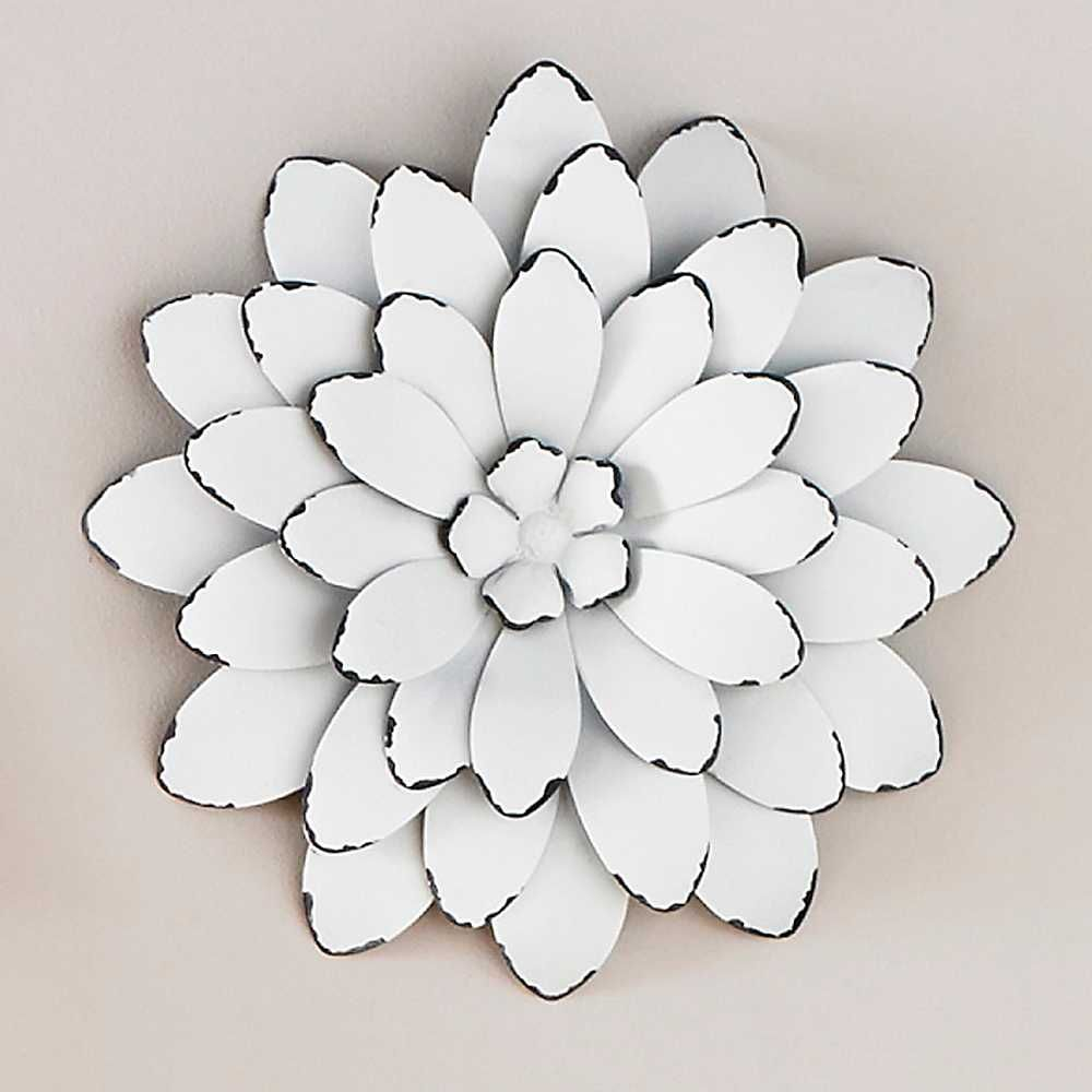 White Color Metal Flowers Wall Art Good Looking Wonderful Image ...