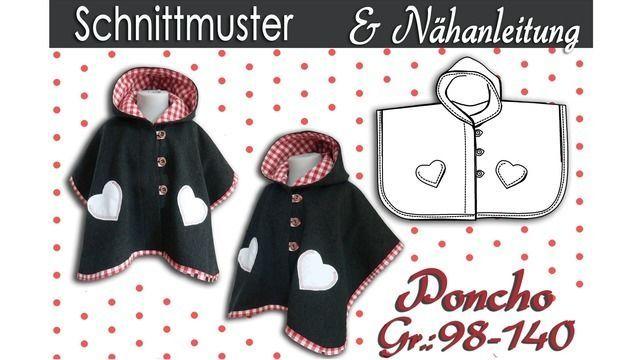 Schnittmuster & Nähanleitung für einen Kinder Poncho Gr.:98-140 ...