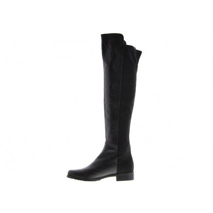 A black leather over the knee pull on boot featuring a back stretch panel. The stretch material is an elasticized fabric which allows for easy entry.   Leather upper and synthetic lining. Heel height is 3cm.   MEASUREMENTS AS PER SIZE 7 Height - 50.5cm (1.5mm difference between half sizing) Calf width - 31cm (5.5mm difference between half sizing) Thigh width - 38cm (6mm difference between half sizing)