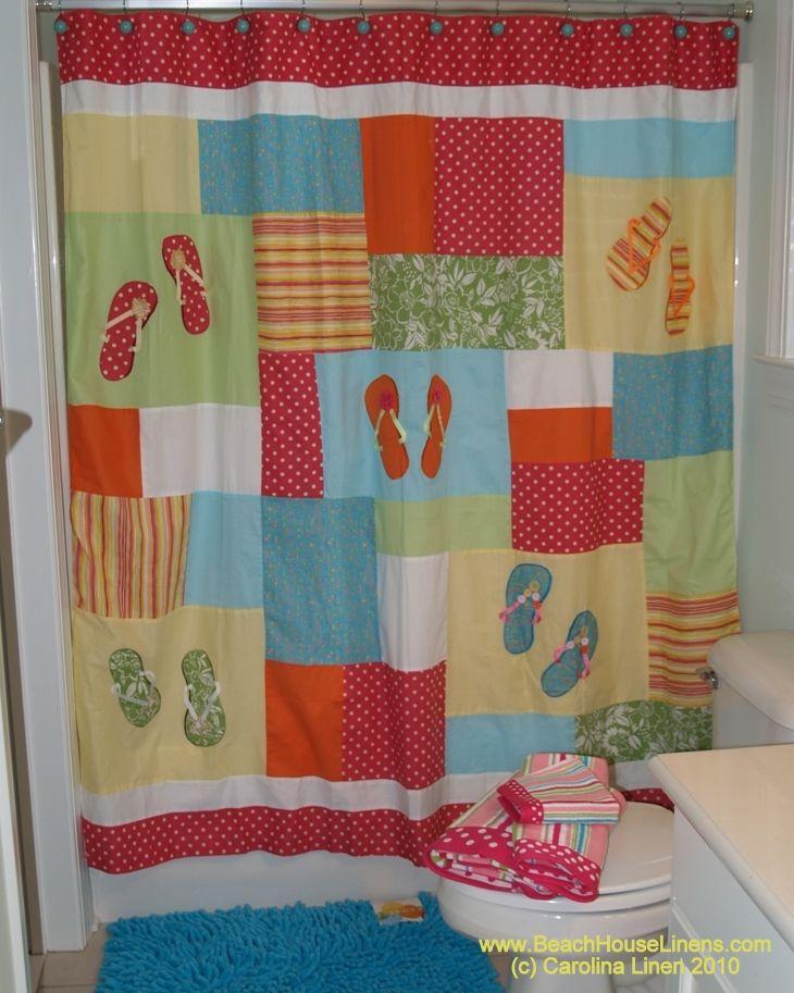 Charming Flip Flops Beach Shower Curtain  Flip Flop Shower Curtain