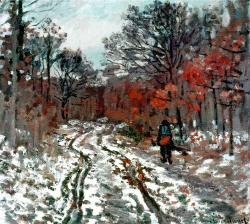 Path through the Forest, Snow Effect-Claude Monet
