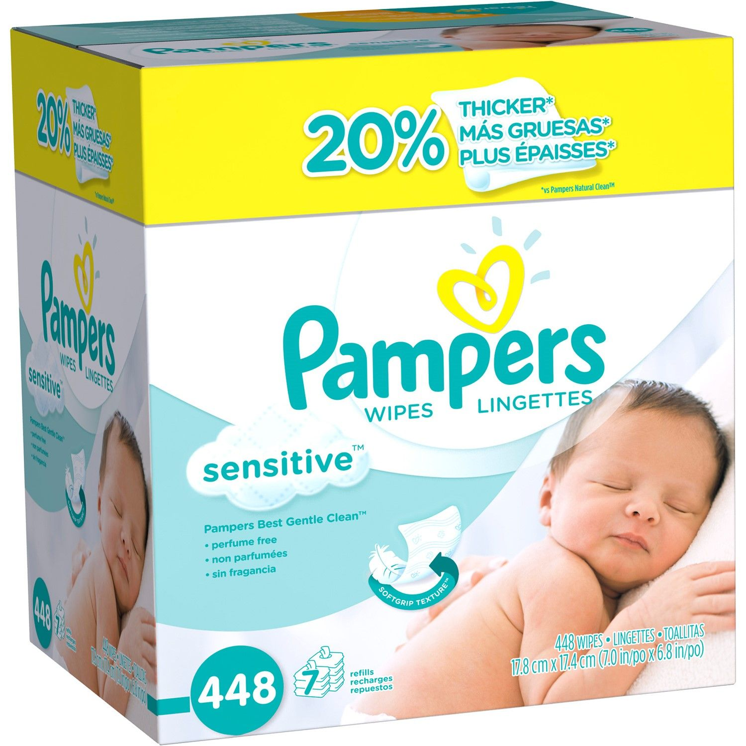 Pampers Baby Wipes Sensitive 7x Refill Tub Not Included