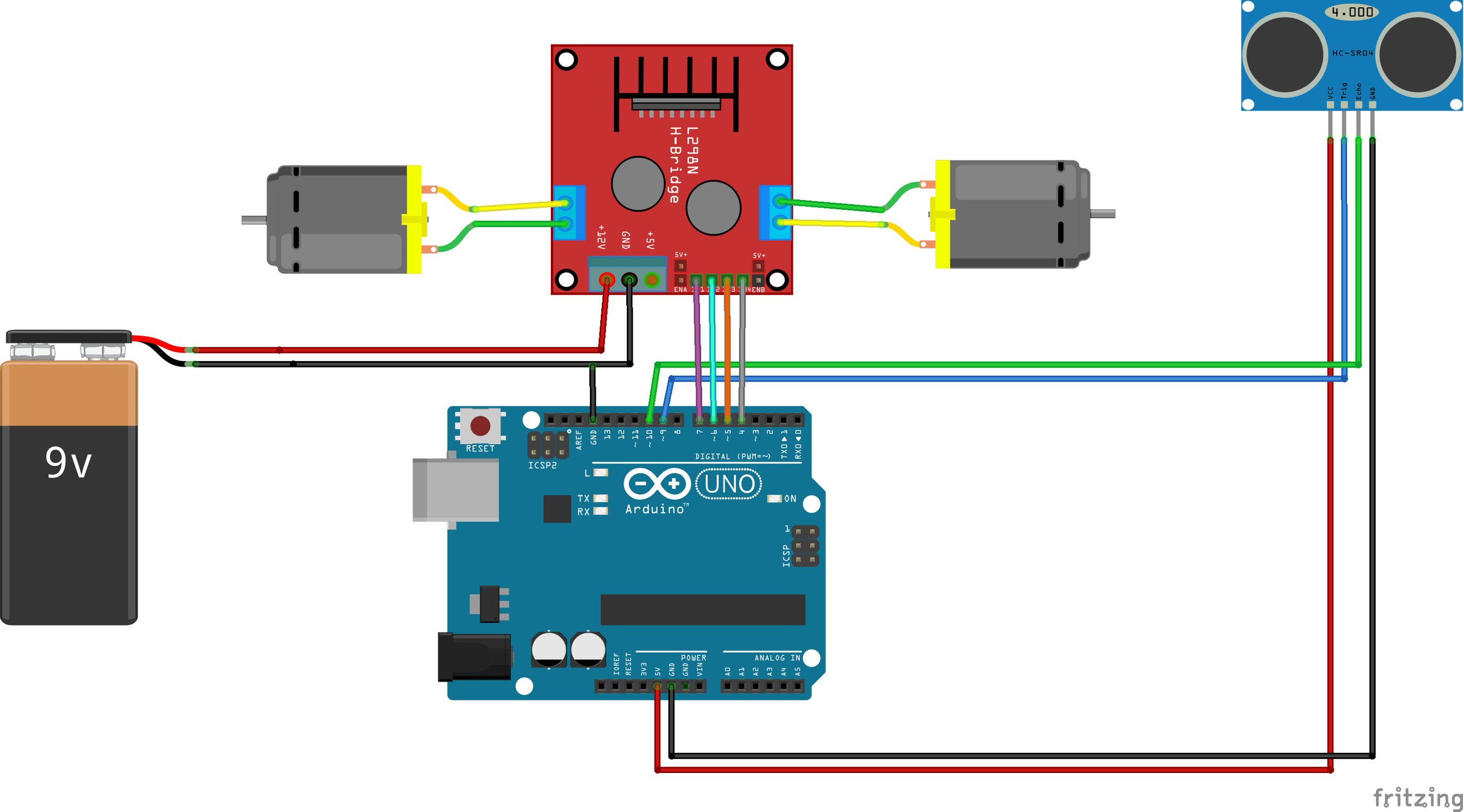 Connections For Obstacle Avoiding Robot Arduino Arduino Sensors Arduino Projects Diy