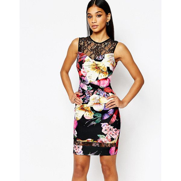 Lipsy Floral Pencil Dress With Lace Insert (1 410 ZAR) ❤ liked on Polyvore featuring dresses, multi, floral pencil dress, floral dress, white bodycon dress, tall dresses and lace pencil dress