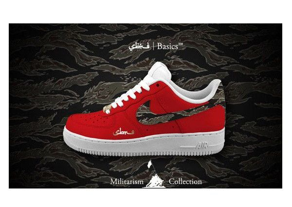 White/Red Nike Air Force One Low Premium Militarism Collection Shoes