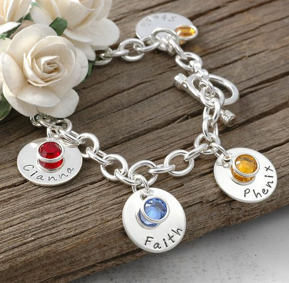 Seven Disc Personalized Name Charm Bracelet With Birthstones Mom Or Grandma