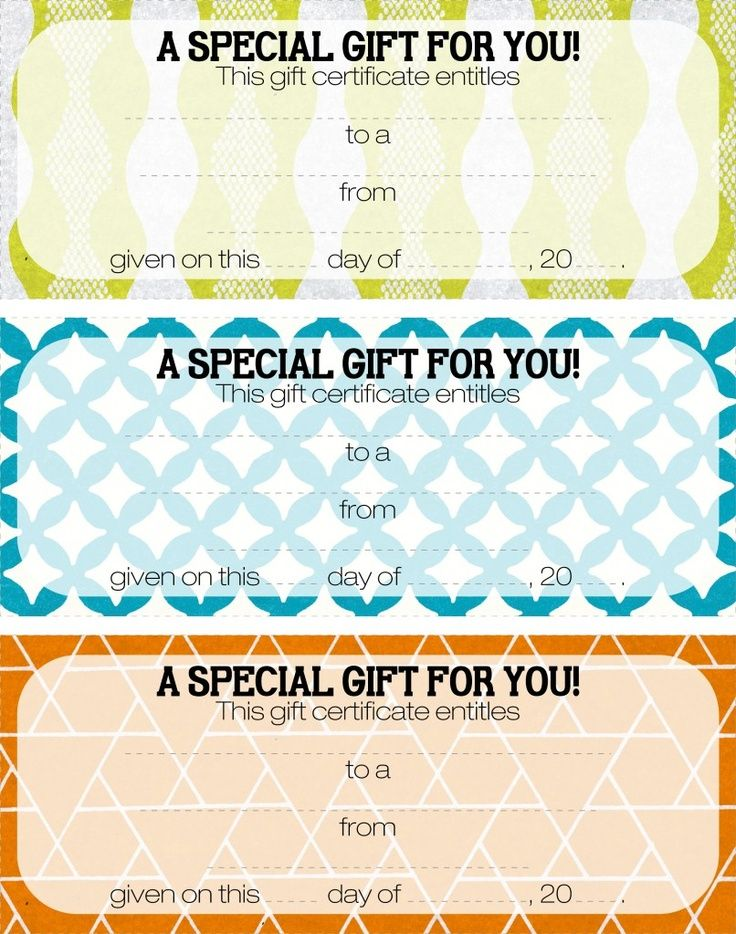 printable gift certificates Free printable gift