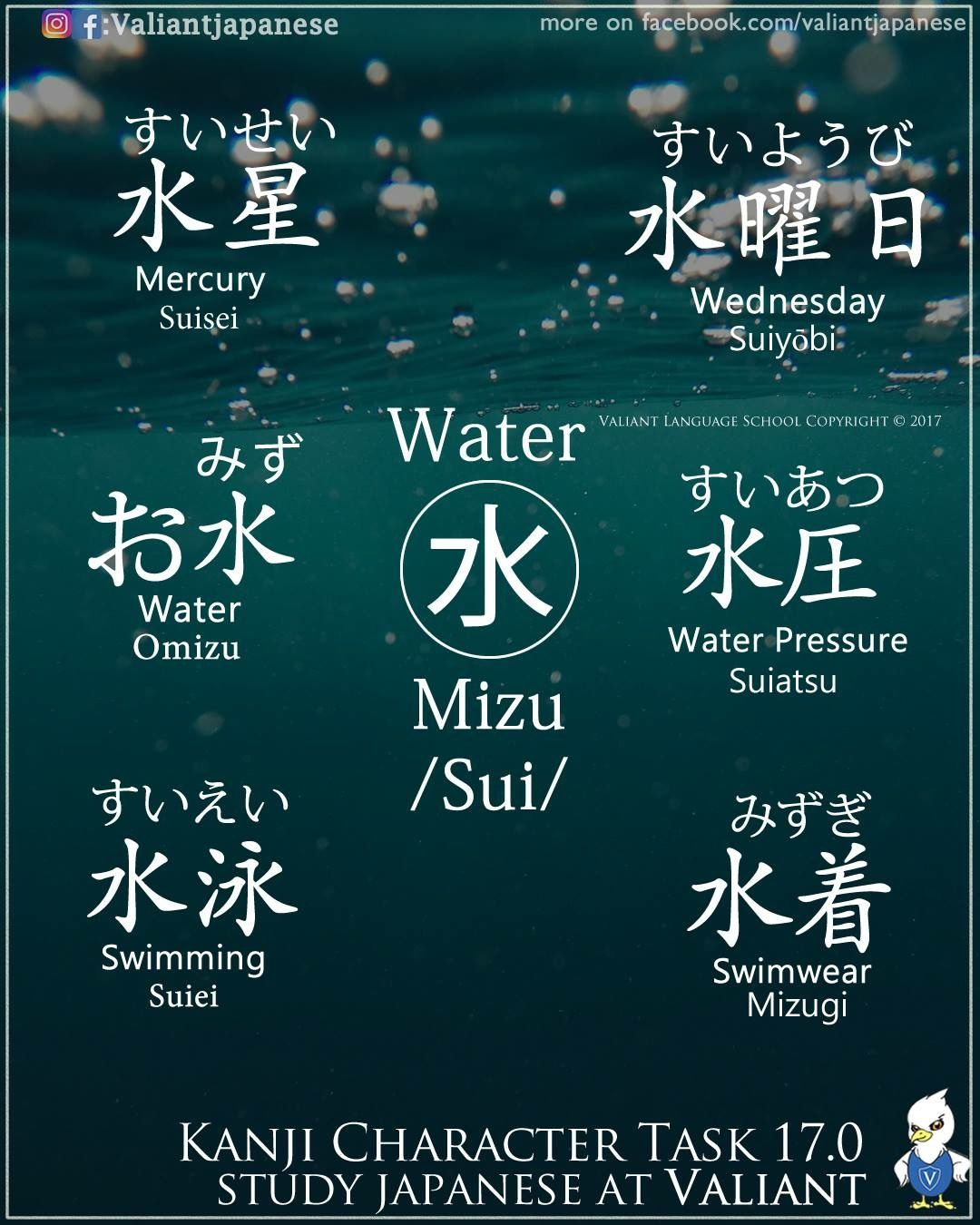 Words With The Character For Water Japan Japanese Words Vocabulary Learning Different