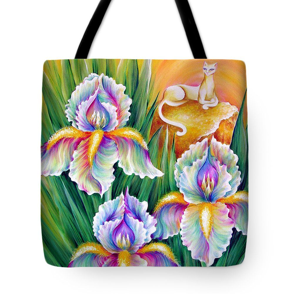 White irises and queen cat tote bag for sale by sofia metal queen white irises and queen cat tote bag by sofia metal queen the tote bag is izmirmasajfo