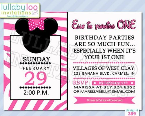 Hot Pink Zebra Print Minnie Mouse Birthday Invitations Minnie Mouse
