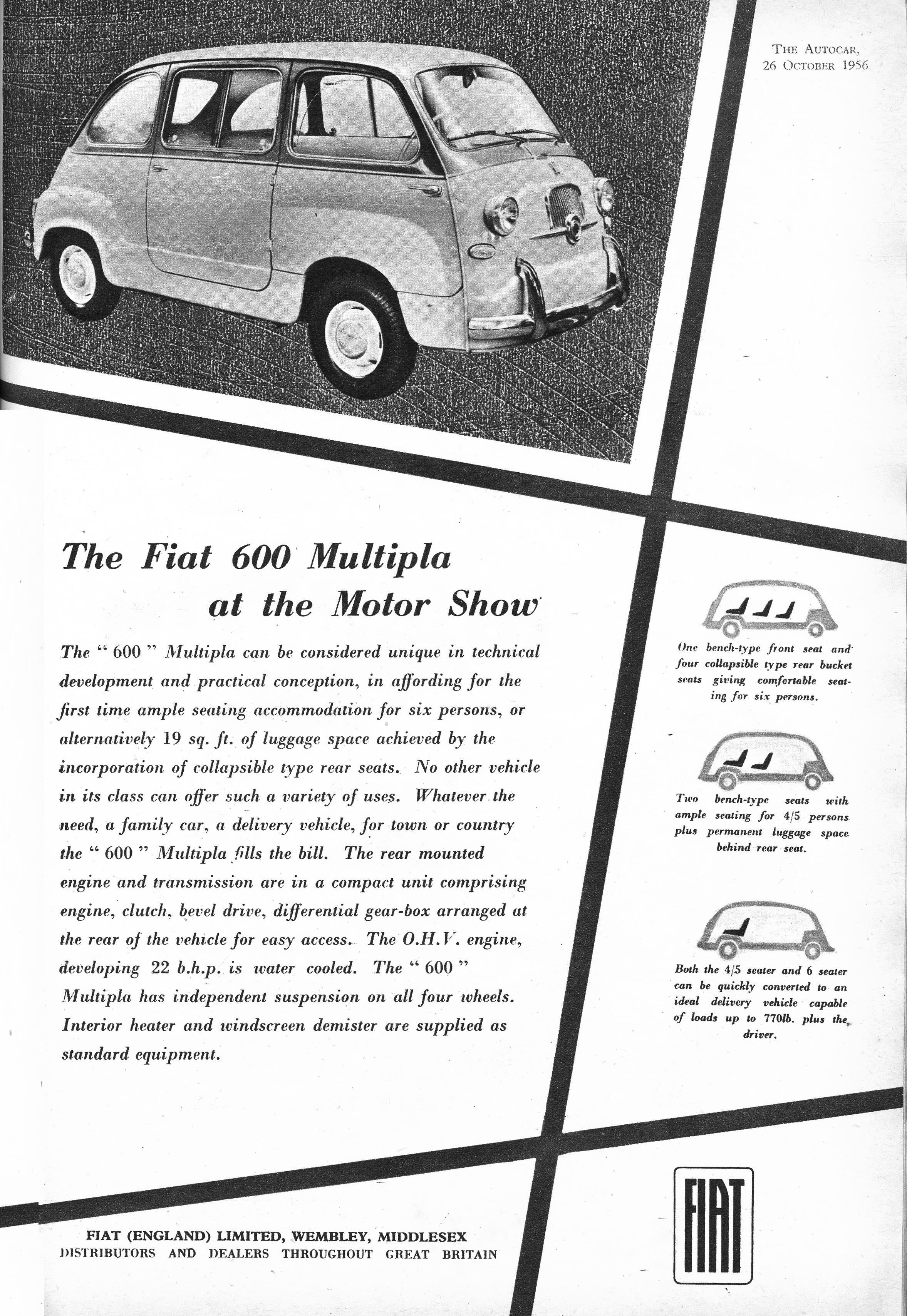 Fiat Car Advert Autocar 1956 Fiat Multipla 600 Fiat Cars Fiat