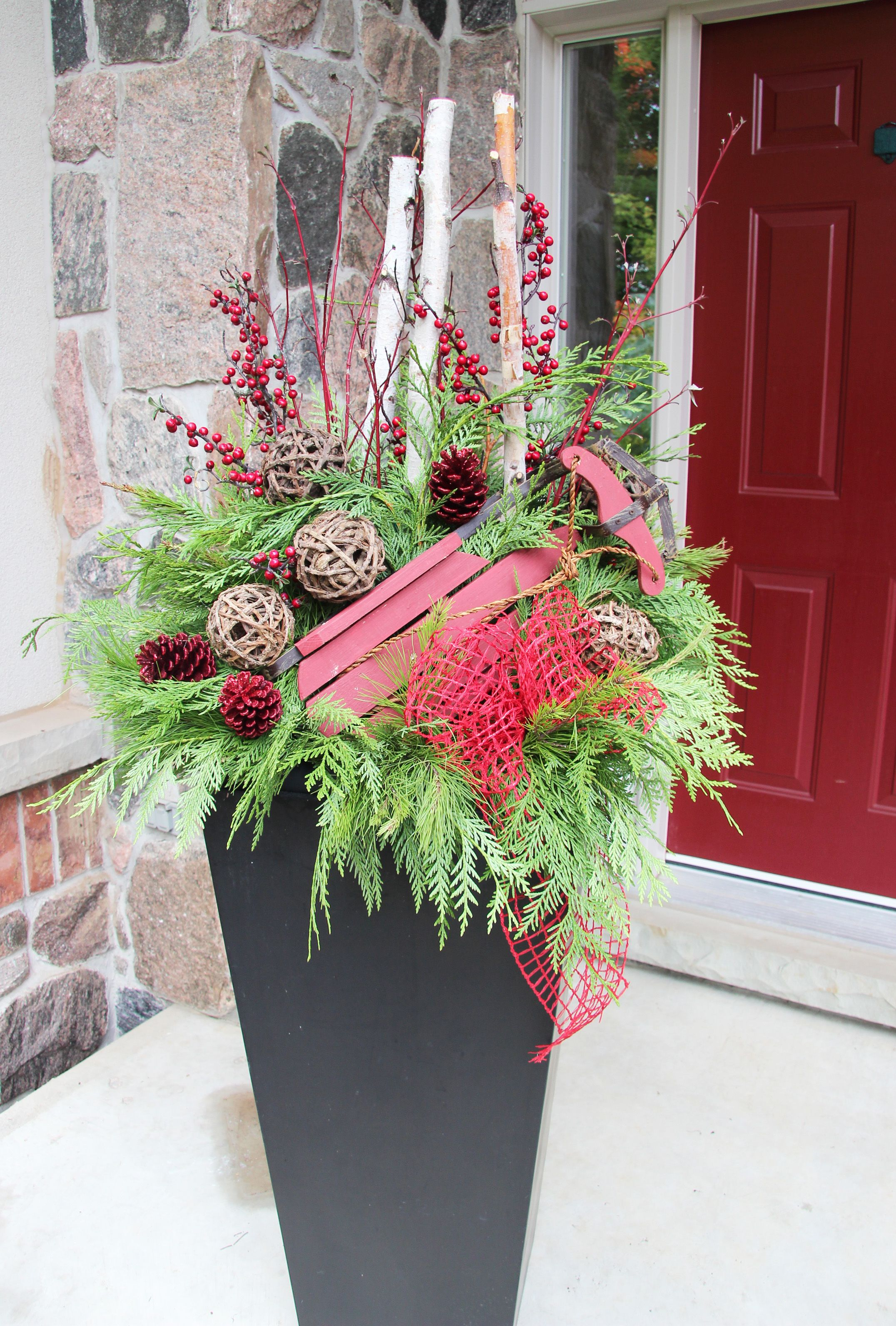 Love Small Sled In Planter Christmas Time
