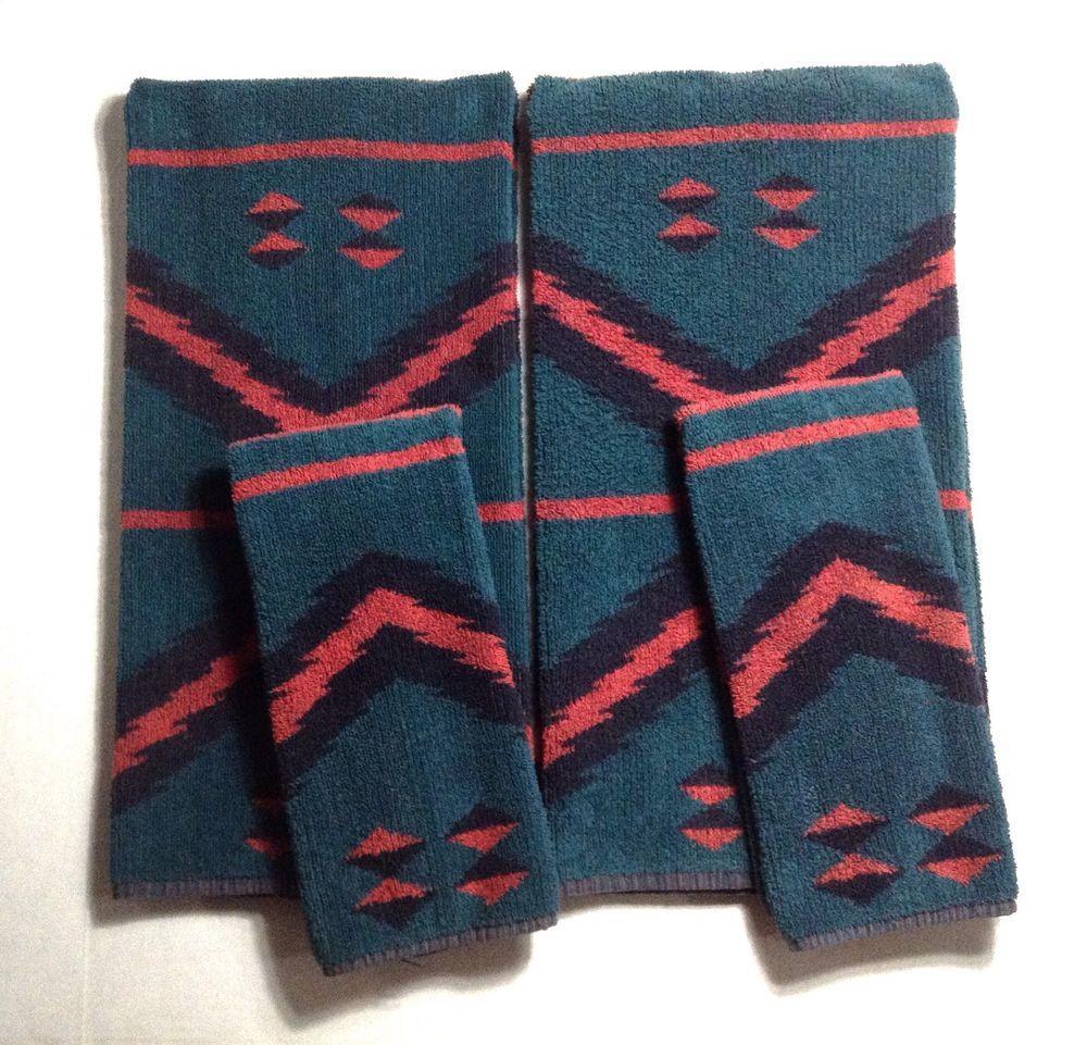 Vtg Ralph Lauren Bath Towels Southwest 2 Bath 2 Hand Tribal Green
