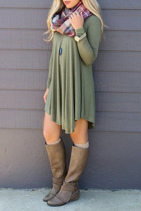 Women s Fall Fashion    POSESHE Women s Long Sleeve Casual Loose T-Shirt  Dress    Infiniti Scarf    Fall Boots    Fall Dress    Long Sleeve Dress     Cute ... 0423ed7739