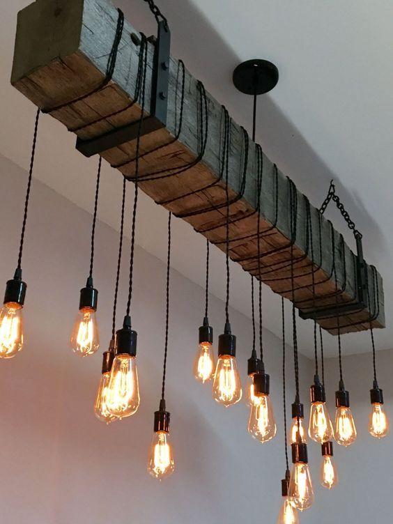 5. Leuchte mit Eisenbahnschwelle und Edison Lights.. #HomeDecor