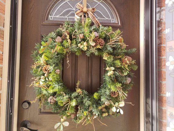 Photo of Large Christmas Wreath for Front Door Jingle Bell Wreath Xmas Wreaths Winter Wreath Natural Wreath Holiday Gifts Rustic Wreath Home Decor