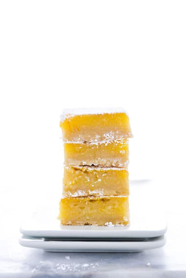 This is the best recipe for gluten free Meyer Lemon Bars! They're simple and easy to make and are t