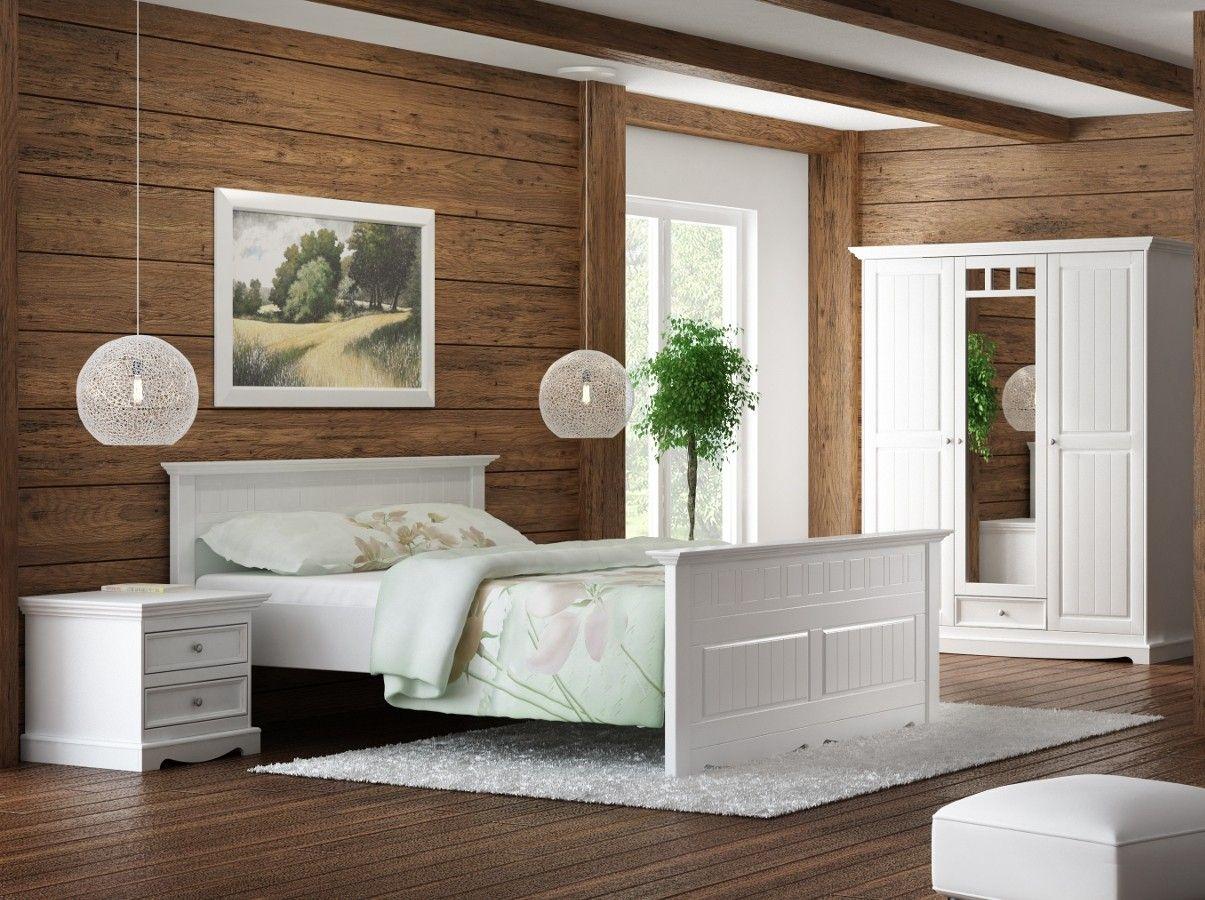 GRANADA Schlafzimmer Set Kiefer weiß 180x200