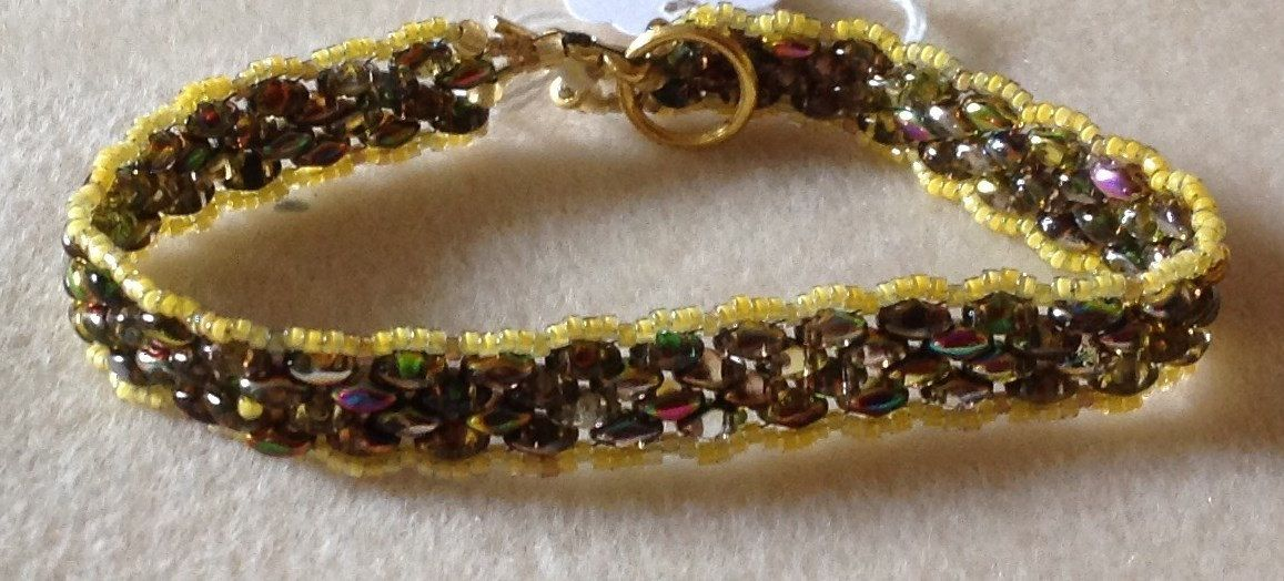 Yellow Brown super duo peyote bracelet by BeadingbyAlice on Etsy