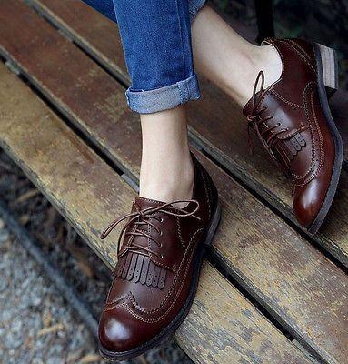 Vintage Para Mujer Zapatos Classics Encaje Vestido Oxfords Bajo Pisos  Tacones Borlas 91f0cacee88d