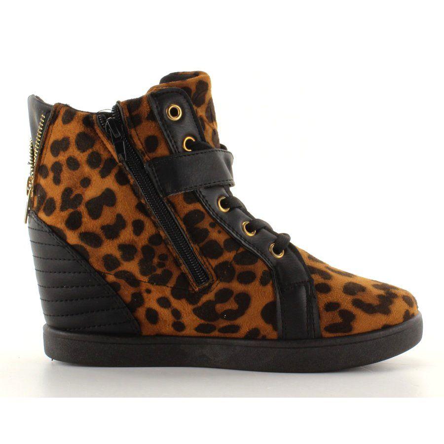 Botki Damskie Obuwiedamskie Brazowe Czarne Sneakers Na Ukrytym Koturnie Hy1669 Leopard Obuwie Damskie High Top Sneakers Wedge Sneaker Sneakers
