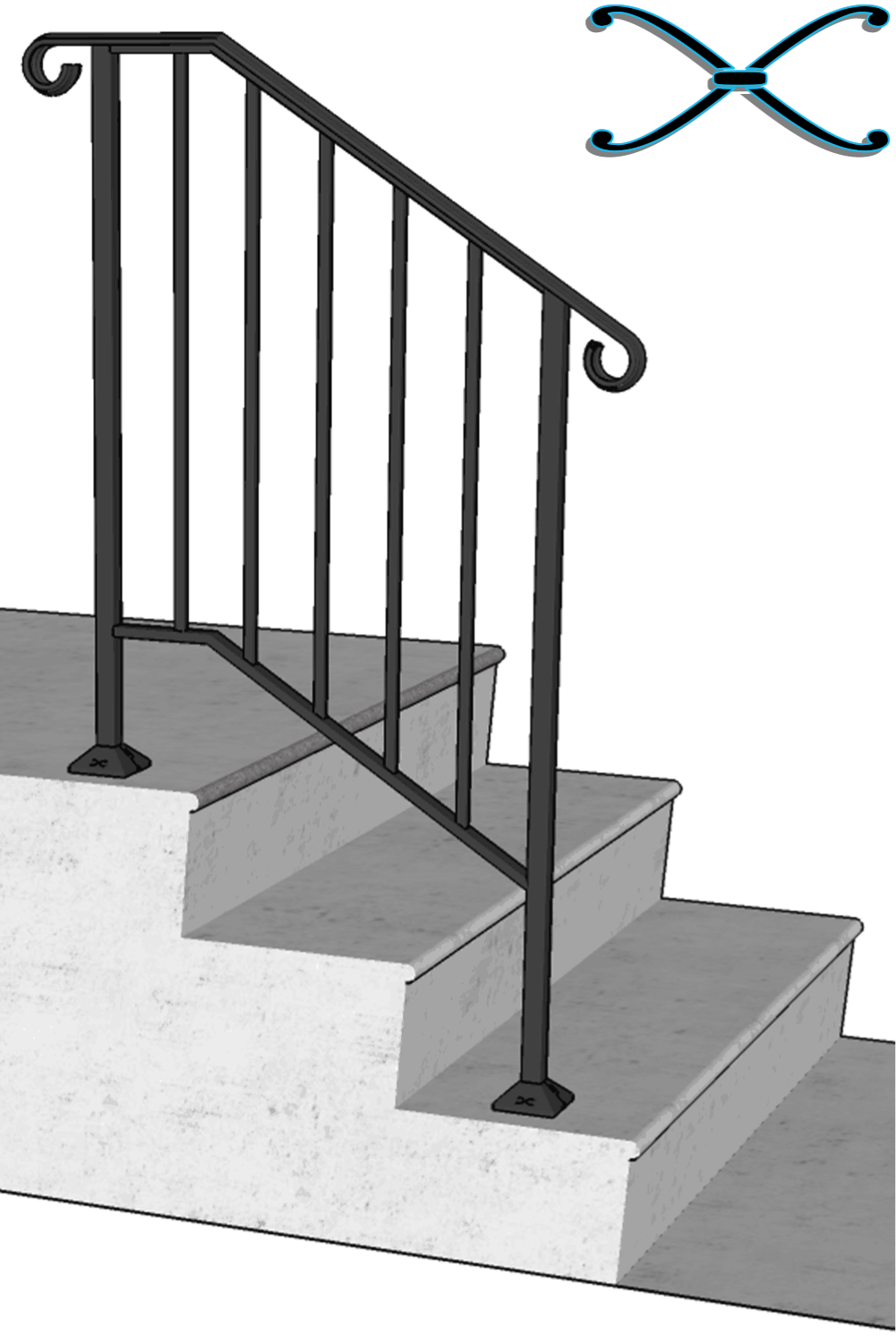Best Details About Iron X Handrail Picket 2 Railing Rail Fits 400 x 300