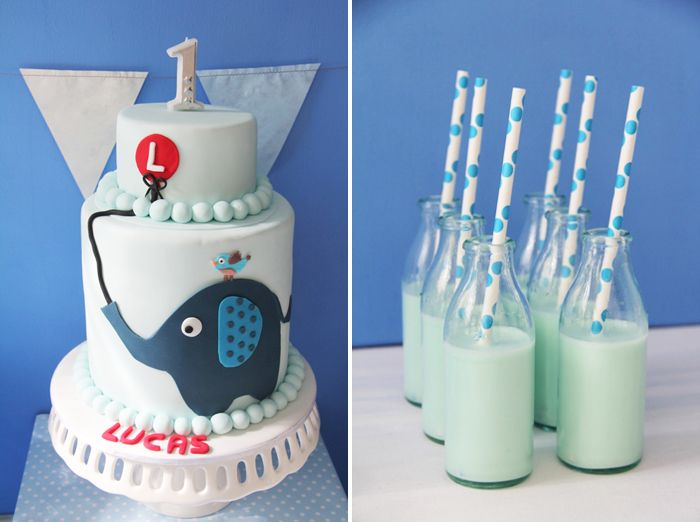 """Little Blue Elephant"". I ADORE elephants and I love the little polka dotted straws. The cake is just ADORABLE. And I think this would look super cute with pretty much any color."