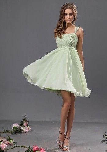 Sage A-line Knee-length One Shoulder Chiffon Bridesmaid Dress(BTBD622)