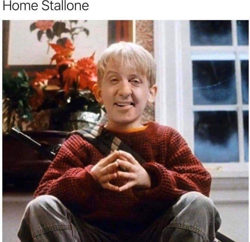 You didn't need the mental image of a Macaulay Culkin and Sylvester Stallone mashup, but here we are! #Memes Celebrities #HomeAlone #Creepy #WTF #Cursed