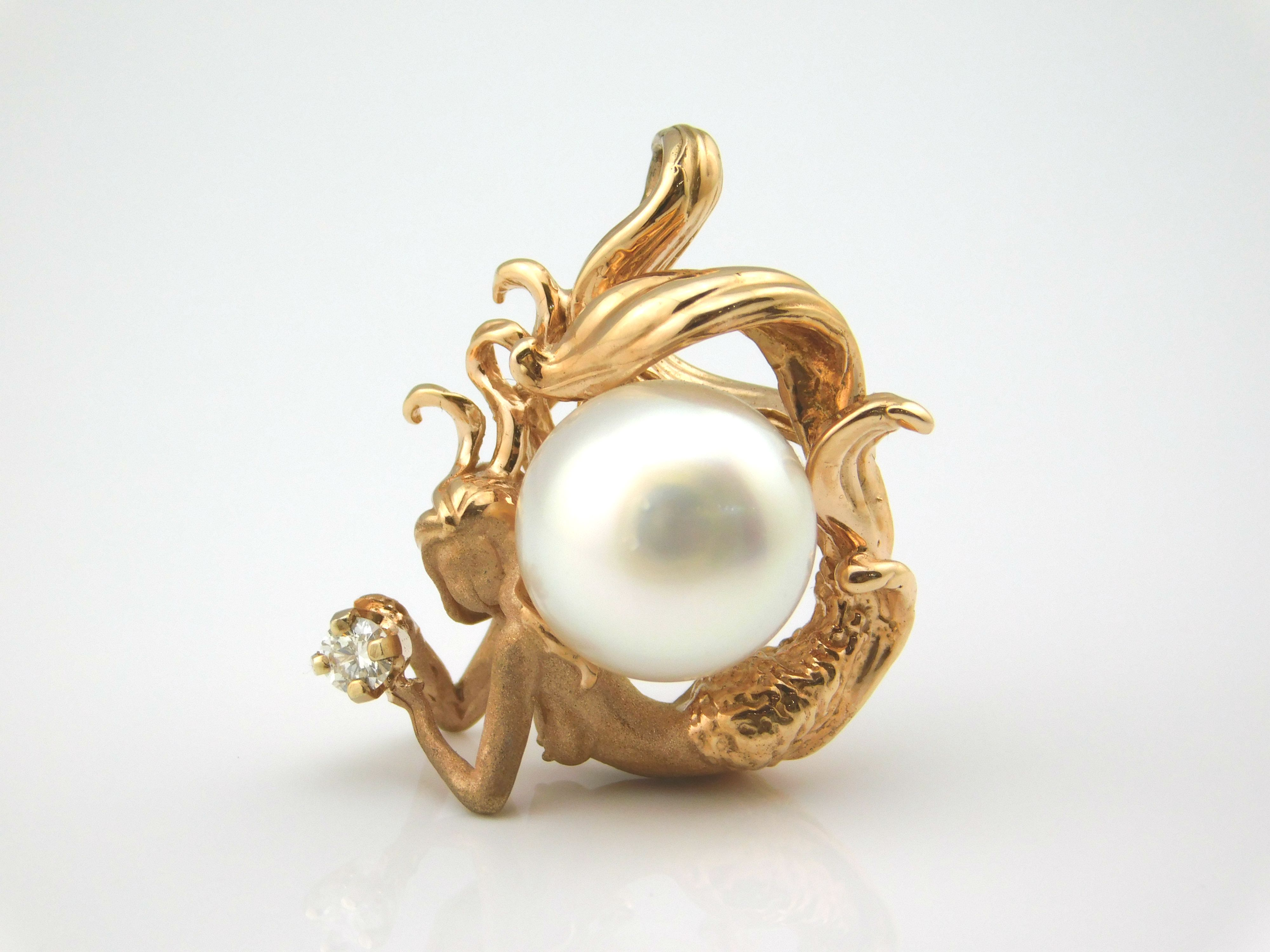 14k rose gold mermaid pendant with a south sea pearl and a diamond 14k rose gold mermaid pendant with a south sea pearl and a diamond aloadofball Choice Image