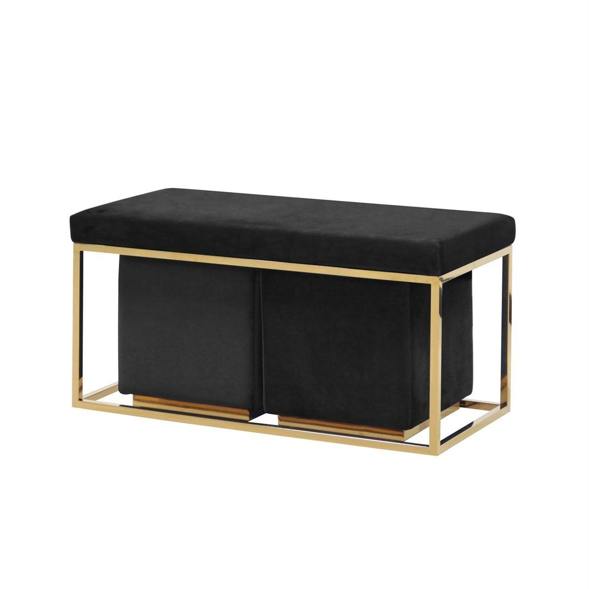 Elegant Set Of 3 Bench And Ottoman Black And Gold By