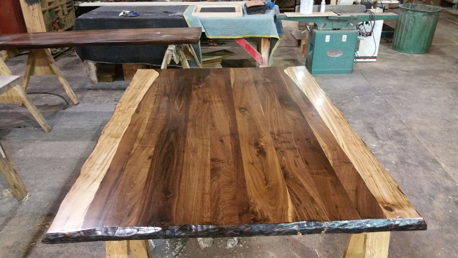 black walnut boards with wormy maple simulated live edge. Black Bedroom Furniture Sets. Home Design Ideas