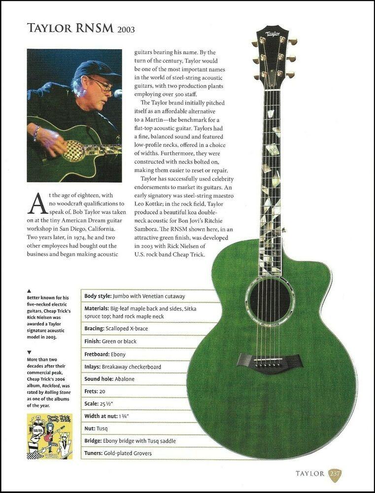 Cheap Trick Rick Nielsen Taylor Rnsm Teisco Del Rey May Queen Guitar Article Taylor Taylor Guitars Acoustic Guitar Taylor Guitars