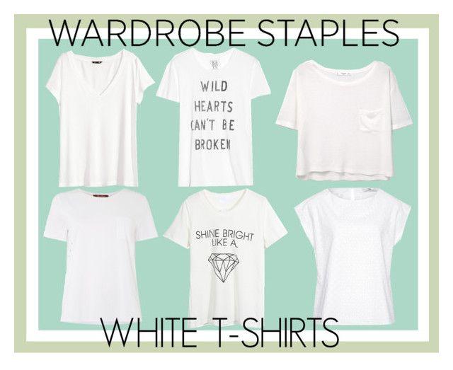 """Wardrobe Staple: White T-Shirts"" by jennaeliser ❤ liked on Polyvore featuring H&M, Zoe Karssen, MANGO, Hahn, MaxMara, WithChic and WardrobeStaple"