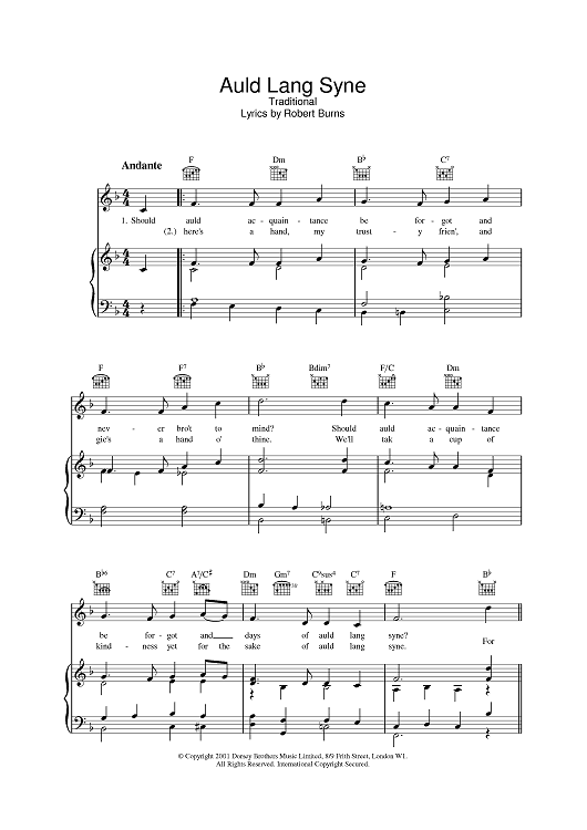 Auld Lang Syne Sheet Music Preview Page 1   New Year Celebrations ...