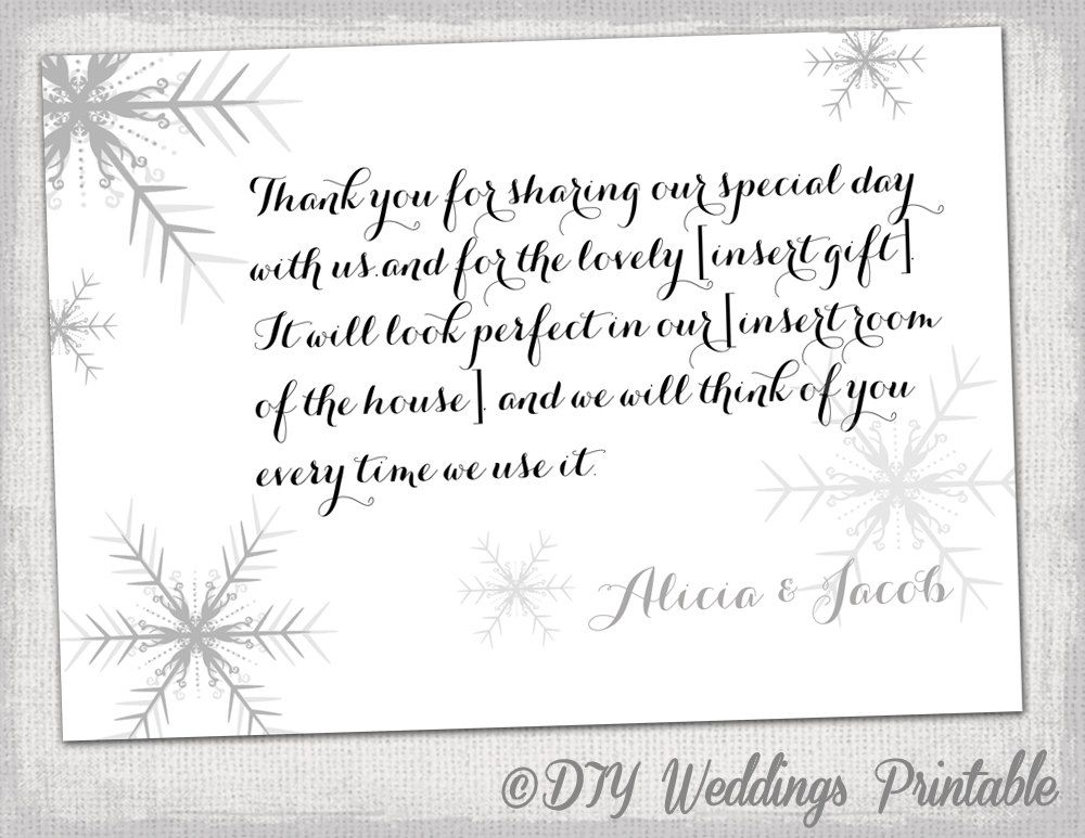 Wedding Thank You Note Sample