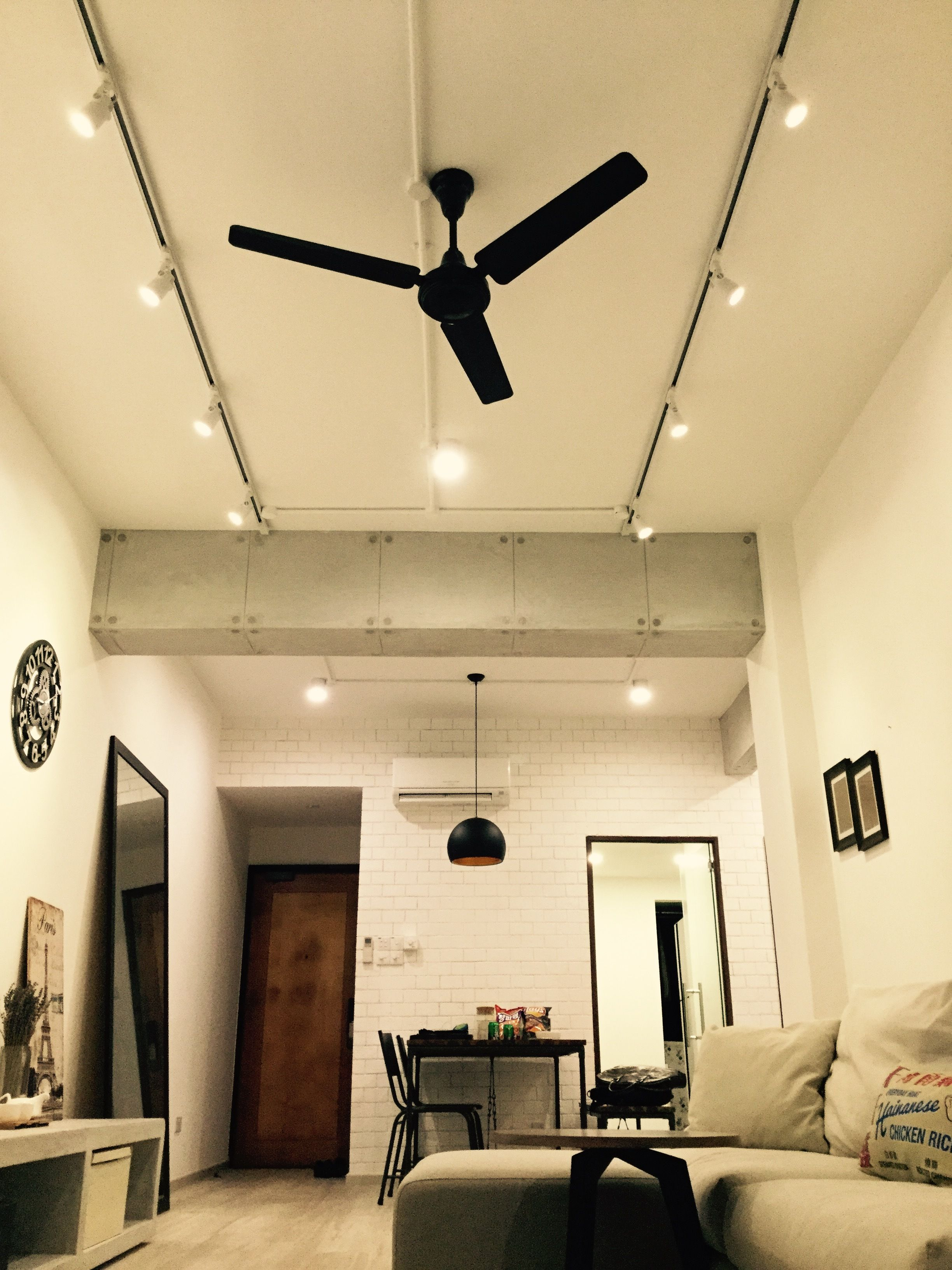 Living Room Ceiling Fan Ideas Living Area Shot From The Floor Concrete Finished Beams