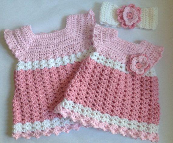 Crochet Baby Girl Dress With Headband Pdf Pattern Tutorial Pdf