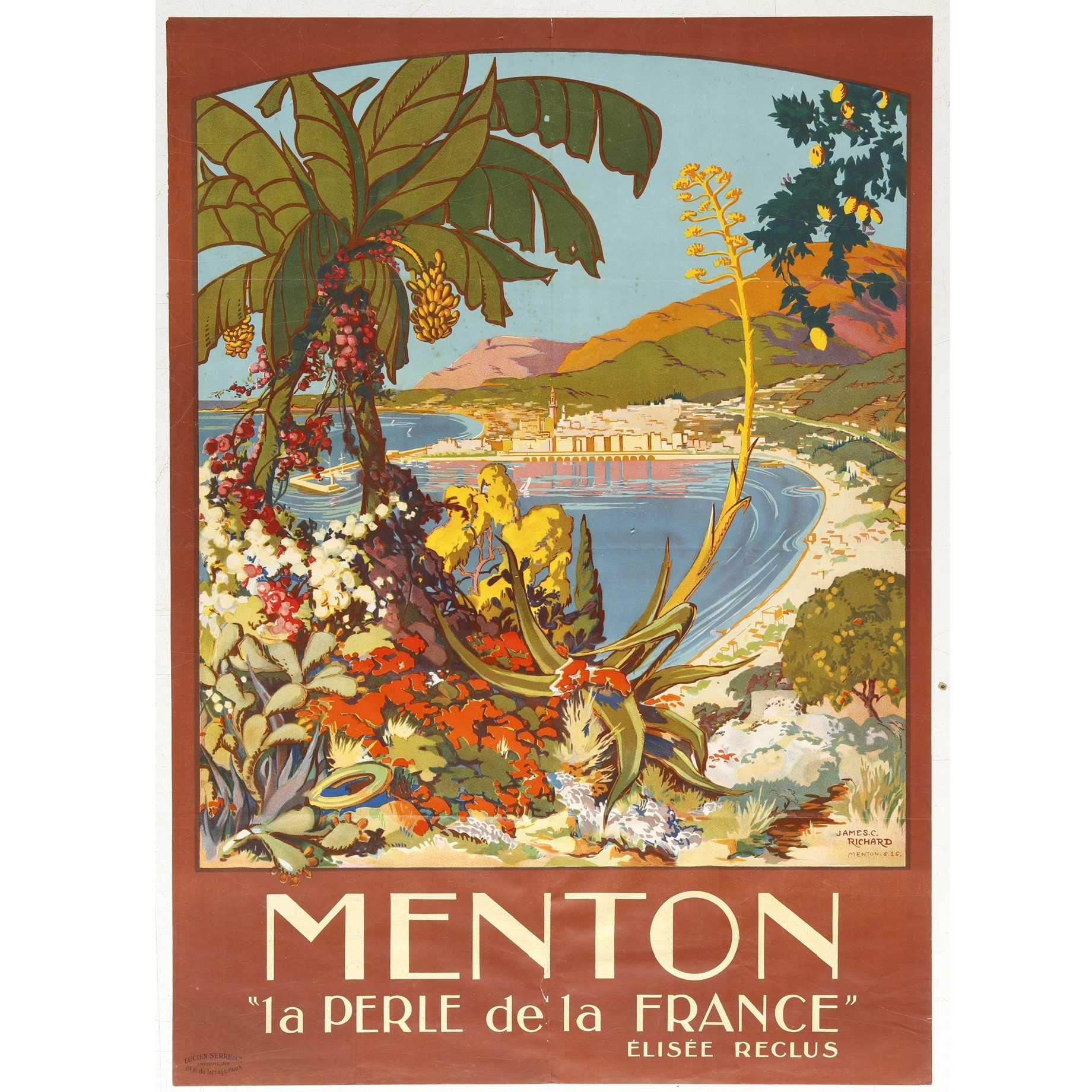 Menton la Perle de la France French Riviera Vintage Travel Advertisement Poster