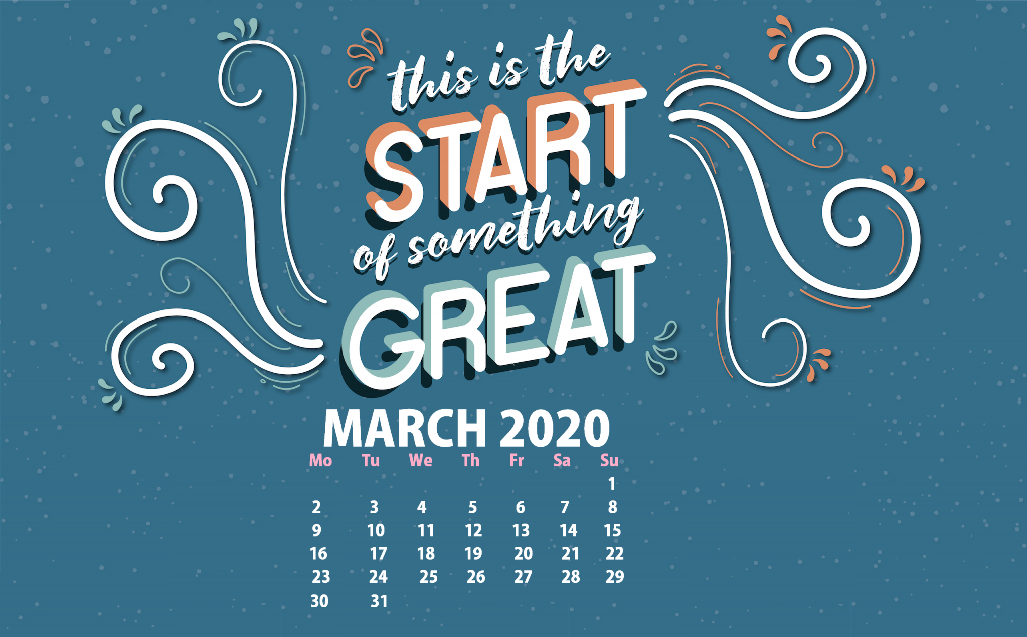 March 2020 Desktop Calendar Wallpaper In 2020 Desktop Wallpaper