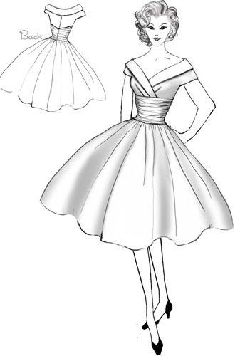 1950s Inspired Cocktail Dress By Amber Middaugh Retro Vintage 1950s Cocktail Dress Vintage Vintage Dress Sketches Fashion Design Drawings