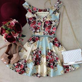 Vestido PRINCESA  Karolina  NEOPRENE C/ BOJO (Estampa Arabescos JADE)