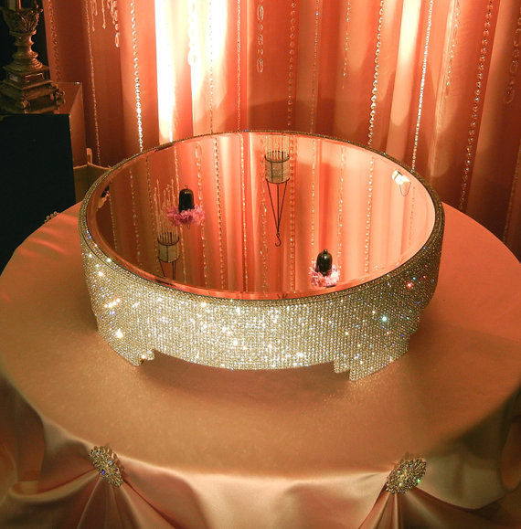 20 Round Crystal Covered Cake Stand By Poshweddingdecor On Etsy 425 00 Clear Crystals Wedding