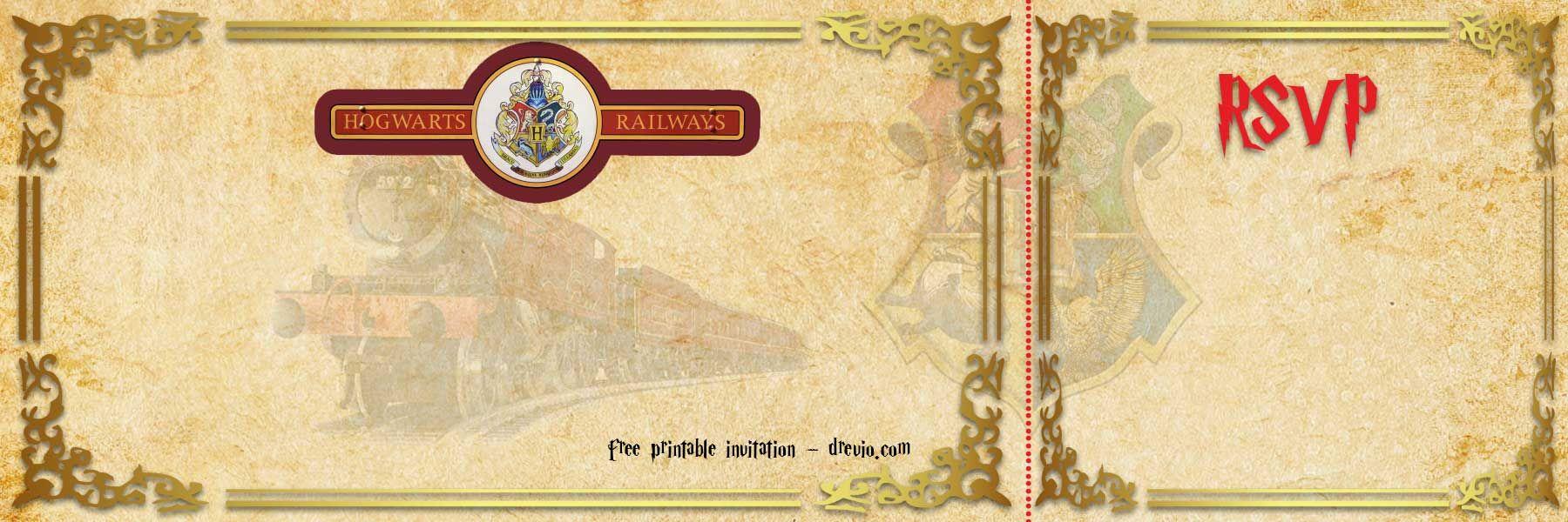 Free Printable Hogwarts Express Ticket Invitation Template