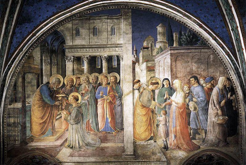 Fra Angelico,  - Cappella Niccolina - Santo Stefano riceve il diaconato e distribuisce le elemosine