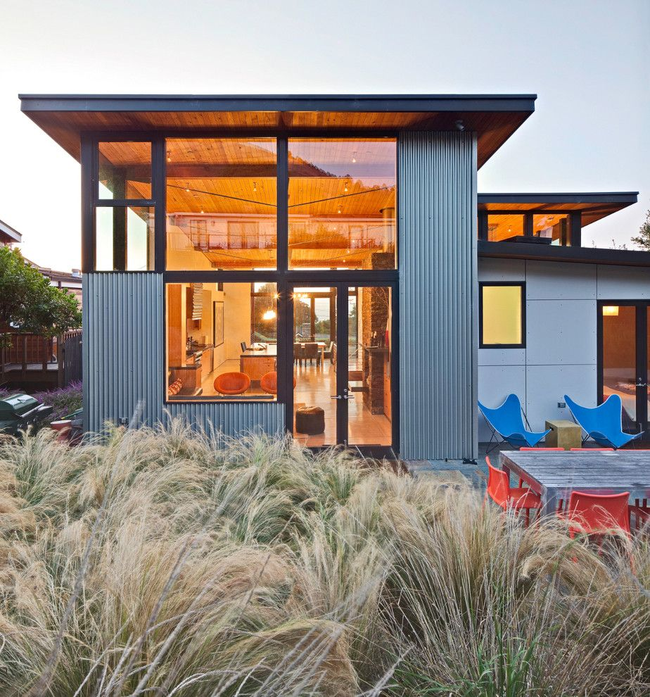 industrial storefront exterior beach style with colorful patio