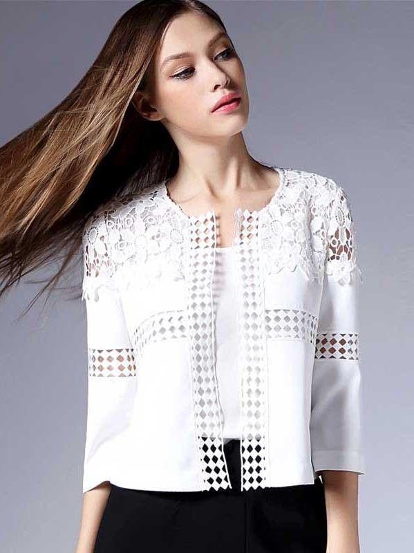 e1b2597e246 Casaco Branco com Renda - Compre Online
