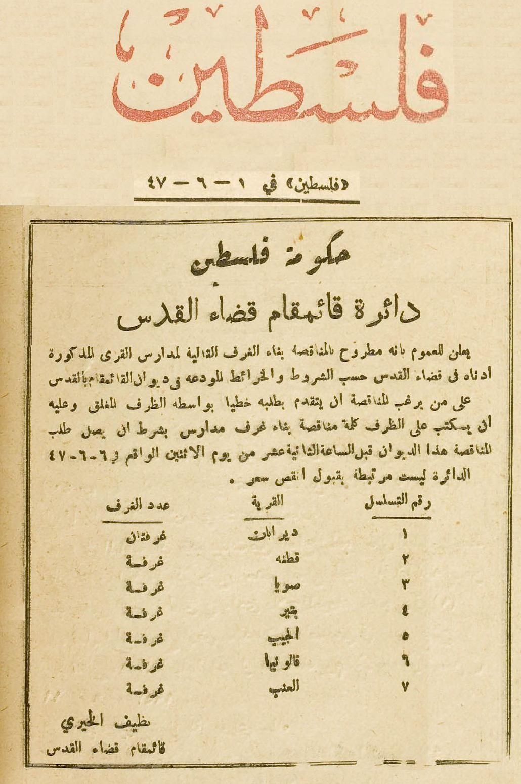 القدس الشريف القدس إعلان منشور في صحيفة فلسطين الصادرة بتاريخ 1947 6 1 عن مناقصة لبناء غرف مدارس لقرى تابعة ل Palestine History Words Quotes Revolution Poster